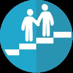An advisor guiding an advisee up a staircase